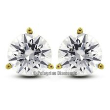 1.41ctw F-SI2 VG Round Natural Diamonds 14KY Gold 3-Prong Martini Earrings 5.5mm