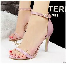 Size 4-8 Lady Ankle Strap Womens High Heels Stilettos Buckle Sandal Party Shoes