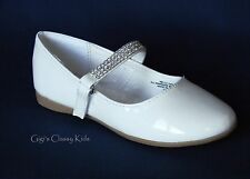 New Youth Kids Girls White Shiny Dress Shoes Flats Party Communion Easter Kelly