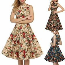 Vintage Style 50 60s Floral Evening Party Housewife Pinup Rockabilly Swing Dress