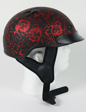 Matte Red Skull  DOT Vented Biker Bone Shorty Half Motorcycle Helmet S M L XL +