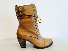 Mia Nanette Natural leather lace up bootie with an inside zipper