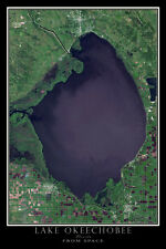 Lake Okeechobee Florida From Space Satellite Poster Map