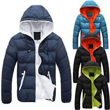 Men's Casual Hooded Thick Padded Jacket Slim Fit Coat Warm Outwear Outcoat Tops