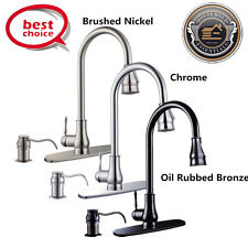 "16-18"" Pull Down Kitchen Spray Swivel Spout Faucet w/ Soap Dispenser Cover E1"