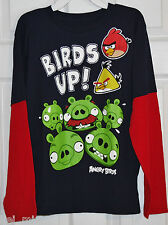 ~ANGRY BIRDS~Boy's Navy/Red Long Sleeve T-Shirt~Size L~NWT