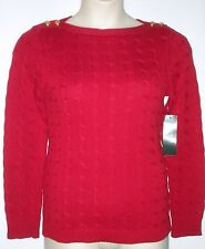 NWT LAUREN RALPH LAUREN Long Sleeve Cable Knit Boatneck Sweater RED, $89.50