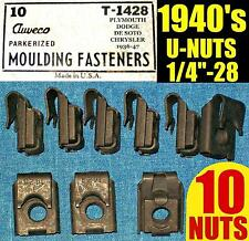 ✪ 10 NOS AUVECO OLD U-NUTS 1940s 40s FENDER, MOLDING TRIM NUT 1/4-28 Fine THREAD