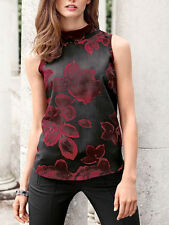 New Ladies Next Red & Black Floral Print Sleeveless Rollneck Top Size 8 10 12 14