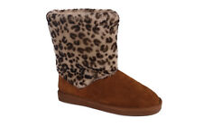Snooki Sheepskin Leopard Boots - Brown