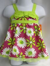 Penelope Mack Girls Dress Pink Lime Green Daisy Panties Lined Diaper Cover
