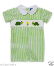 NEWAurora Royal Baby Boys Hand Smocked 'Tortoises'Pure Cotton Striped Playsuit