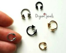 """16g curved septum rings 1/4"""" 5/16"""" 316L Stainless Steel pointy smiley piercings"""