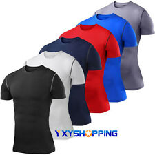 Mens Compression Base Layer Sports Tops Tight Tee Short Sleeve Jersey T-Shirts