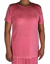 Women's Solid Coral Tee Slinky Casual Travel Tunic Short Sleeve Top + Plus Size