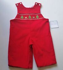 Boys PETIT BEBE boutique Christmas romper 3M 9M 12M 18M NWT red outfit smocked