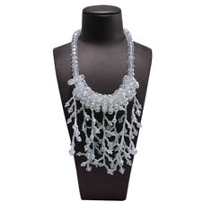 White Rhinestone Crystal Dendritic Fringe Beads Pendant Chunky Dress Necklace