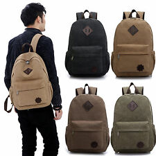 Canvas Mens School Bag Backpack Rucksack Laptop Shoulder Travel Camping Bags