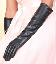 Long 40cm sexy Genuine Lambskin Leather Opera Gloves S M L