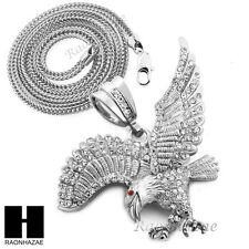 "Iced Out Large America Eagle Red Eye Pendant w4mm 36"" Franco Chain Necklace F018"