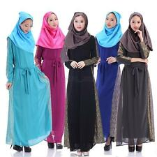 Women Chiffon Muslim Long Sleeve Party Dresses Islamic Kaftan Maxi Arab Clothes