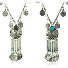 Sellings Vintage Coin Long Pendant Necklace Chain Gypsy Tribal Ethnic Jewelry