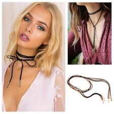 Boho Punk Gothic Style Long Faux Suede Cord String Choker Necklace Wrap Tie FI