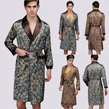 New Mens Satin Silk Pajamas Long Kimono Robe Gown Loungewear Bathrobe Sleepwear