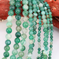 15'' Green Natural Stripe Agate Stone Gemstone Spacer Loose Bead Findings 4-10MM