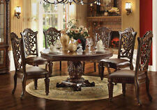 NEW VENDOME ANTIQUED CHERRY FINISH WOOD ROUND FORMAL PEDESTAL DINING TABLE SET