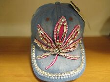 Studded Crystal Rhinestone  Denim Adjustable Baseball Cap Tennis Hat