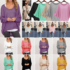 Womens Long Sleeve Shirt Knit Oversize Baggy Sweater Jumper Top Blouse Pullover