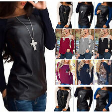 Women Top Tee Lace Crochet Pullover Blouse Retro PU Leather Long Sleeves T-Shirt