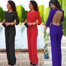Women Celeb Sexy Romper Backless Jumpsuit Overalls Long Pants Wide Leg Trousers