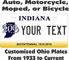 Indiana License Plates Personalized Custom Auto Bicycle Bike Moped Motorcycle