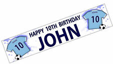 PERSONALISED BANNER NAME AGE PHOTO BIRTHDAY FOOTBALL 18th 21st 30th 40th BLUE K1