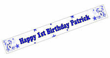 PERSONALISED BANNER NAME AGE PHOTO BIRTHDAY PARTY PANDA BLUE BOY 4TH 5TH 6TH D3