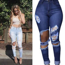 Retro Women's Ripped Skinny Stretch Denim High Waisted Slim Fit Jeans Long Pants