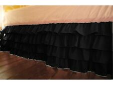 """Stylish 1-QTY Multi Ruffle Bed-Skirt/Valance Drop 8"""" To 20"""" Black Solid"""