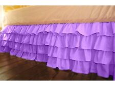 """Stylish 1-QTY Multi Ruffle Bed-Skirt/Valance Drop 8"""" To 20"""" Lavender Solid"""