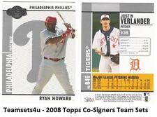 2008 Topps Co-Signers Baseball Team Sets ** Pick Your Team Set **