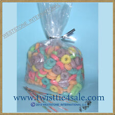 """100pcs 4"""" X 2"""" X 8"""" - 1mil Clear Poly Gusseted Bags + Free Twist ties (1345)"""