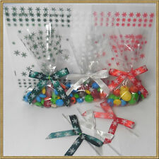 "25pcs 4""x 6"" Snow flake cello bags for Christmas Party - 3 colors"
