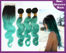 300g Mint Green Body Wave Ombre Virgin Human Hair Weave and Lace Top Closure 4x4
