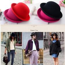 Vintage 6 Colors Women Lady Bowler Top Hat Roll Brim Derby Fedora Dome Cap new