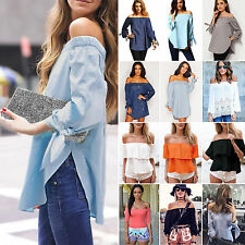 Womens Off The Shoulder Loose Tee Shirt Tops Blouse Celeb Long Sleeve T-Shirts