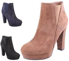 WOMENS LADIES CHUNKY SOLE HIGH HEEL PLATFORM ZIP ELASTIC ANKLE BOOTS SHOES SIZE
