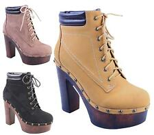 WOMENS LADIES CHUNKY SOLE HIGH HEEL PLATFORM MILITARY LACE UP ANKLE BOOTS SHOES