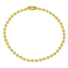 3mm Small Round 14K Yellow Gold-Plated Dog Tag Military Bead Ball Chain Bracelet