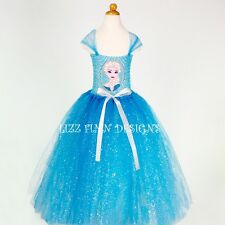 Disney Frozen Elsa Long Tutu Dress, Handmade Fancy Dress Costume (Lined Top)